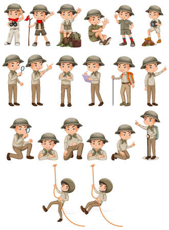 Boy in safari outfit doing different activities on white background illustration