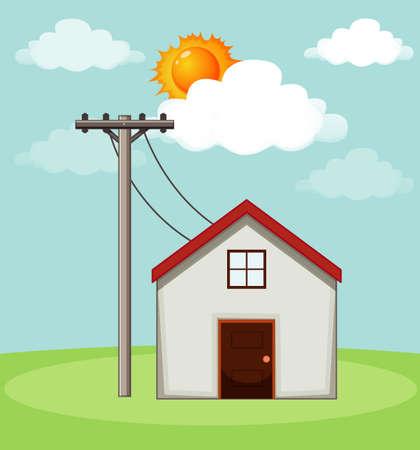 Diagram showing how solar cell works at home illustration Vektorové ilustrace