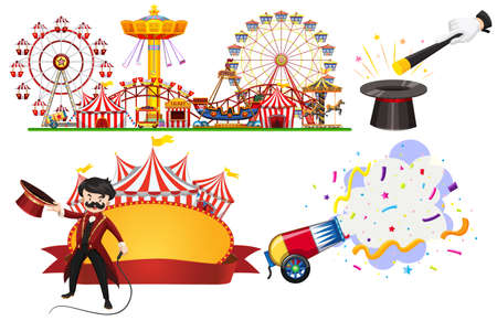 Circus sign and themepark scene on white background illustration
