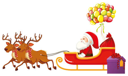 Santa Claus riding on sleigh with colorful balloons illustration Vetores