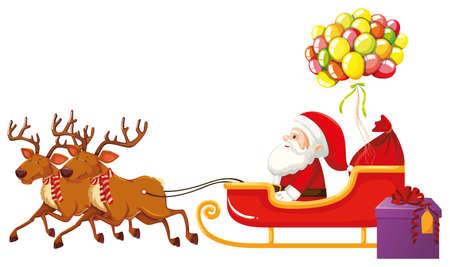 Weihnachtsmann reitet auf Schlitten mit bunten Luftballons Illustration Vektorgrafik