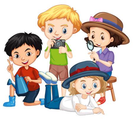 Quattro bambini con la macchina fotografica e l'illustrazione della lente d'ingrandimento