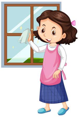 Girl cleaning window on white background illustration
