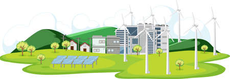 Scene with turbines and solar cells in the city illustration