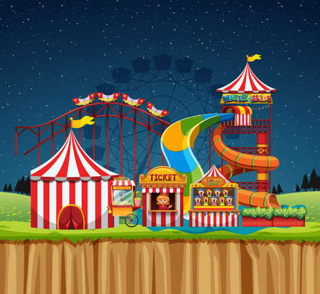 Circus scene with waterpark at night illustration