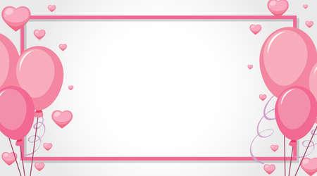 Valentine theme with pink balloons illustration