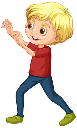 Boy in red shirt on white background illustration