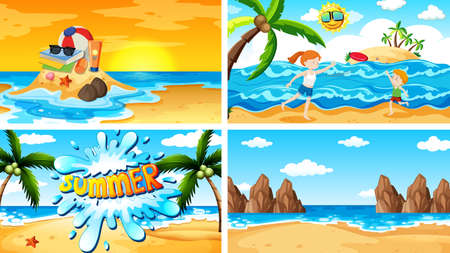 Four background scenes with summer on the beach illustration Illustration