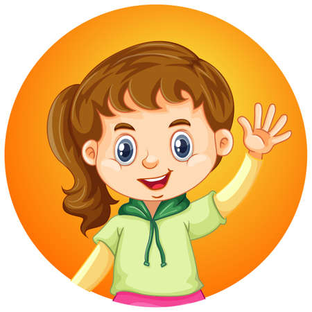Girl waving hand on round background illustration