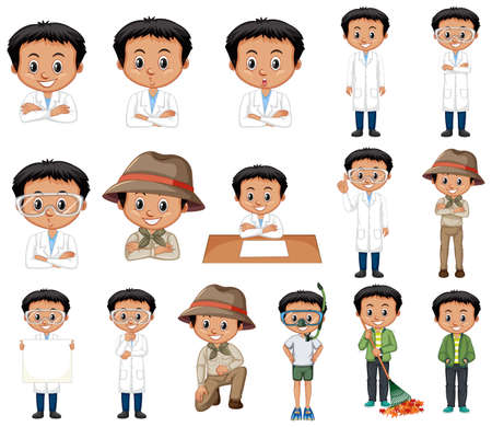 Set of black hair boy doing different activities illustration