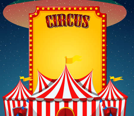Circus sign template with circus tents in background illustration