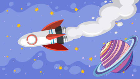 Background design with spaceship flying in the sky illustration
