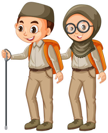 Boy and girl in scout uniform on white background illustration