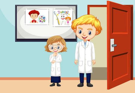 Classroom scene with teacher and student inside illustration 矢量图像