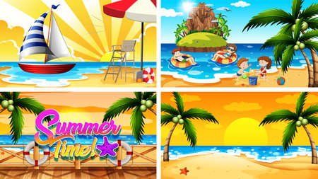 Four background scenes with summer on the beach illustration Ilustracja