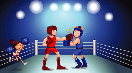 Background scene with athletes fighting in the ring illustration