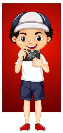 Happy boy with digital camera illustration