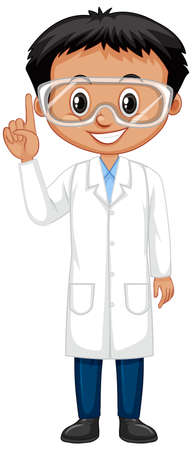 Boy wearing lab gown on white background illustration