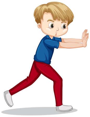 Boy in blue shirt pushing wall illustration