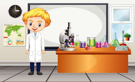 Classroom scene with science teacher and equipments illustration