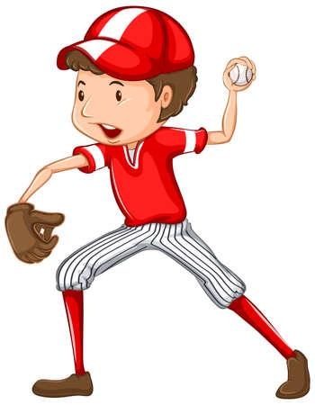 Atleta che fa baseball sull'illustrazione bianca del fondo