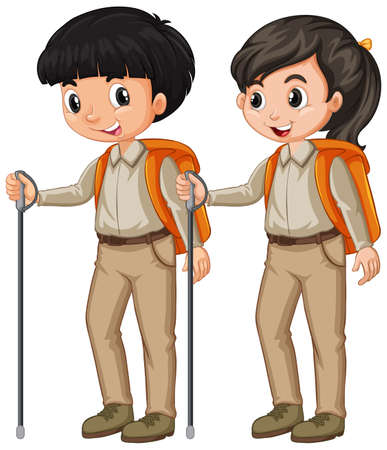 Boy and girl in scout outfit hiking on white background illustration