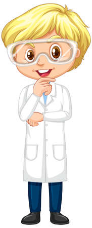 Happy boy in science gown standing on white background illustration