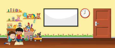 Background scene with whiteboard and toys illustration Çizim