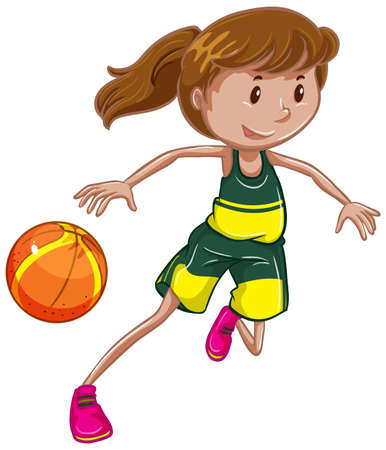 Athlete doing basketball on white background illustration Vektorové ilustrace