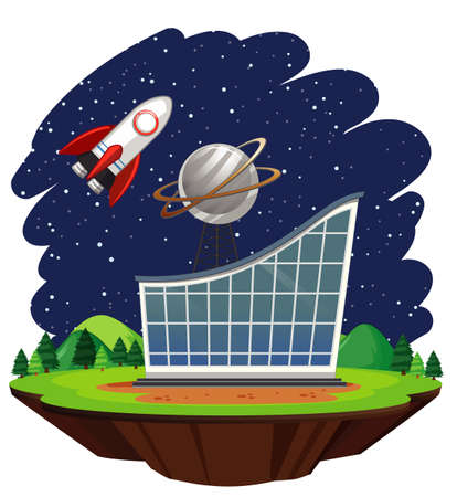 Scene with spaceship flying over big building illustration