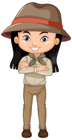 Girl in safari outfit on white background illustration