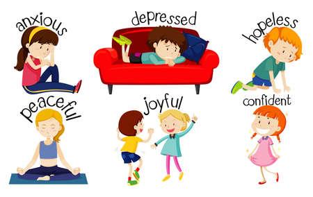 Ensemble d'enfants exprimant des sentiments avec des mots adjectifs illustration Vecteurs