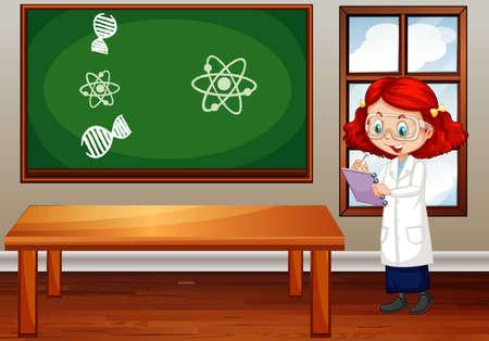Scena in classe con studente di scienze all'interno dell'illustrazione