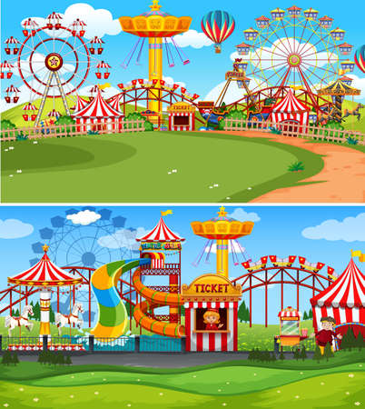 Two scenes of funpark with many rides illustration Vektorové ilustrace