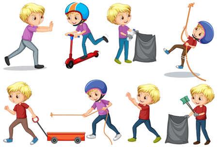 Boy doing different activities on white background illustration Vektoros illusztráció