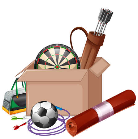 Cardboard box full of sport equipments on white background illustration Illustration