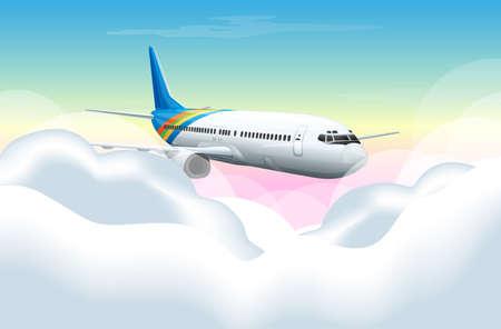 Scena con l'aeroplano che vola nell'illustrazione del cielo