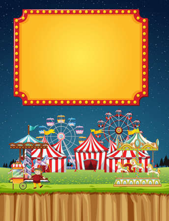 Circus scene with sign template in the night sky illustration