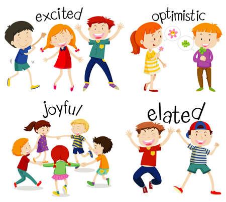 Adjektiv-Wortkarten mit Kinder- und Wortillustration