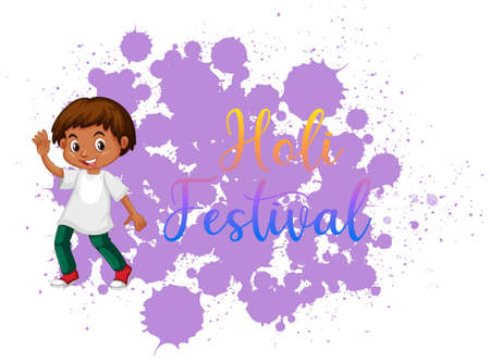 Happy Holi festival poster design with colorful background illustration