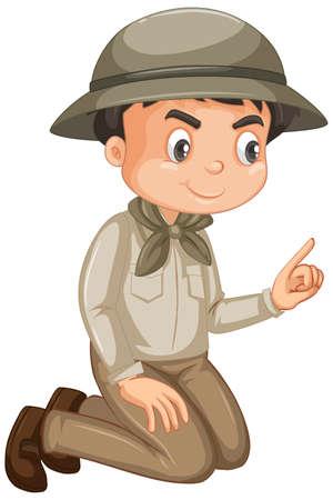 Ragazzo che indossa abito da safari su sfondo bianco illustrazione Vettoriali
