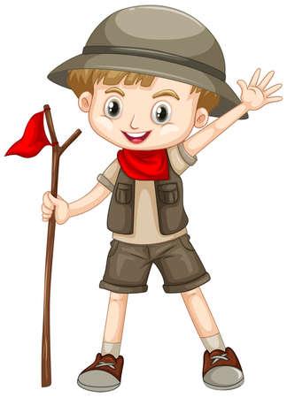 Garçon mignon en tenue de safari sur fond blanc illustration