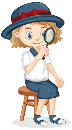 Girl with magnifying glass sitting on isolated background illustration
