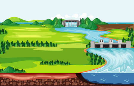 Scene with water running down from the dam illustration Vector Illustratie