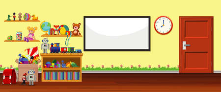 Background scene with whiteboard and toys illustration Иллюстрация