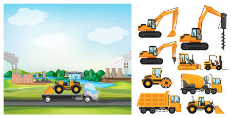 Scene with truck driving along the industrial zone illustration