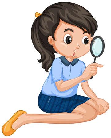 Girl holding magnifying glass on white background illustration