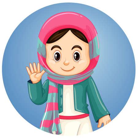 Islam girl on round background illustration 矢量图像