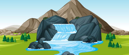 Background scene with waterfall illustration