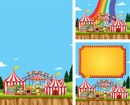 Three scene of circus with many rides illustration Illustration
